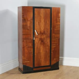 Antique English Art Deco Figured Walnut & Ebony Wardrobe / Armoire (Circa 1930) - yolagray.com