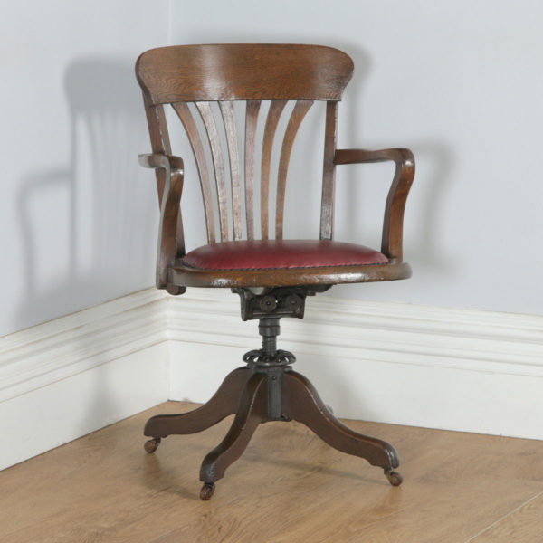 Antique English Edwardian Oak & Red Leather Revolving Office Desk Arm Chair (Circa 1910) - yolagray.com