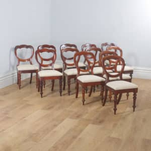 Antique English Victorian Set of 12 Twelve Mahogany Crown Top Balloon Back Dining Chairs (Circa 1880) - yolagray.com
