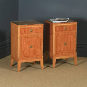 Pair of Georgian Neoclassical Style Satinwood & Ebony Bedside Cabinets (Circa 1970) - yolagray.com