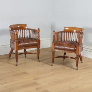 Antique English Pair of Victorian Oak & Brown Leather Office Desk Library Club Arm Chairs (Circa 1850) - yolagray.com
