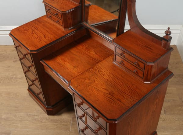 Antique English Victorian Gothic Pitch Pine & Ebony Pedestal Dressing Table with Mirror (Circa 1890) - yolagray.com