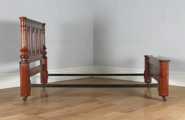 """Antique English Victorian Gothic Pitch Pine & Ebony 4ft 6"""" Double Size Bed (Circa 1890) - yolagray.com"""