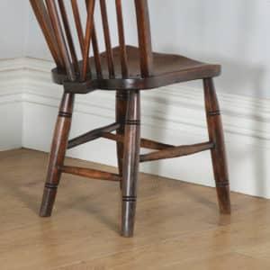 Antique English Set of 12 Twelve Victorian Ash, Beech & Elm Windsor Stick & Hoop Back Kitchen Dining Chairs (Circa 1900) - yolagray.com