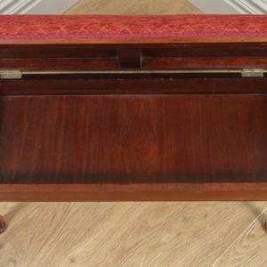 Antique English Edwardian Mahogany Upholstered Duet Music Piano Window Stool Ottoman Seat (Circa 1910) - yolagray.com