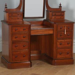 Antique English Victorian Gothic Pitch Pine & Ebony Pedestal Dressing Table with Mirror (Circa 1890) - yolagray.com