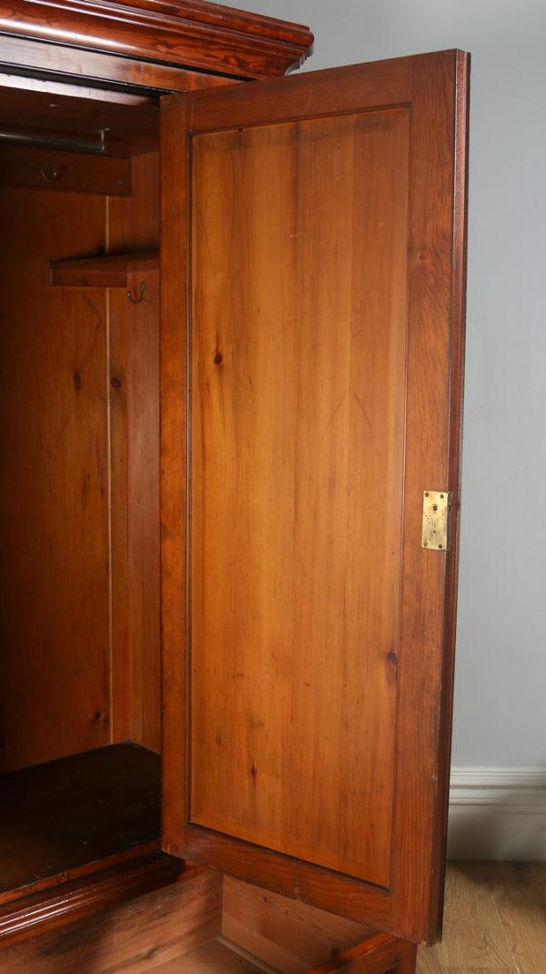 Antique English Victorian Gothic Pitch Pine Wardrobe Cupboard Linen Press (Circa 1890) - yolagray.com