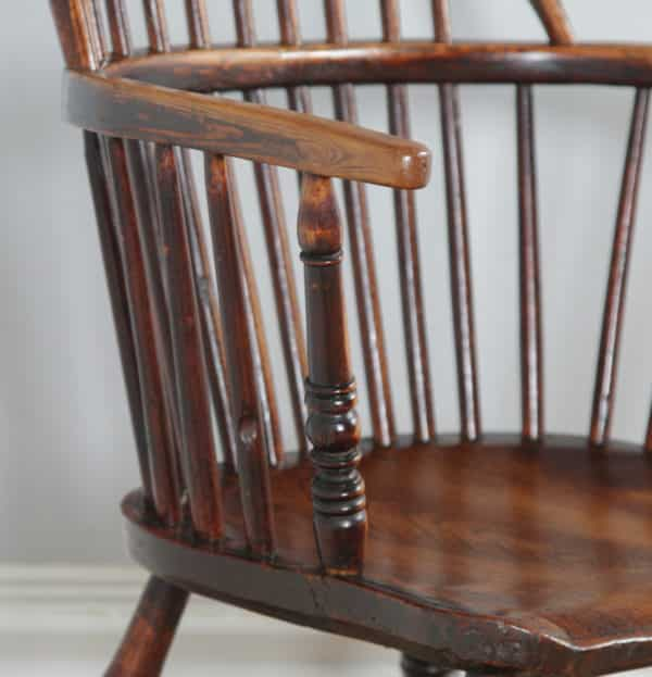 Antique English Set of 12 Twelve Victorian Ash, Beech & Elm Windsor Stick & Hoop Back Kitchen Dining Chairs (Circa 1900) - yolagray.com