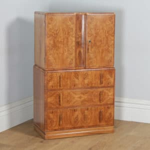 Antique English Art Deco Burr Walnut Two Door Tallboy Compactum Chest of Drawers by Ray & Miles of Liverpool (Circa 1930) - yolagray.com