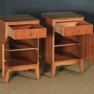 Pair of Georgian Neoclassical Style Satinwood & Ebony Bedside Cabinets (Circa 1970) - yolagray.com