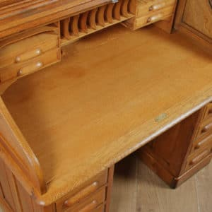"Antique English Edwardian 4ft 2"" Oak Roll Top Pedestal Office Writing Desk (Circa 1910) - yolagray.com"