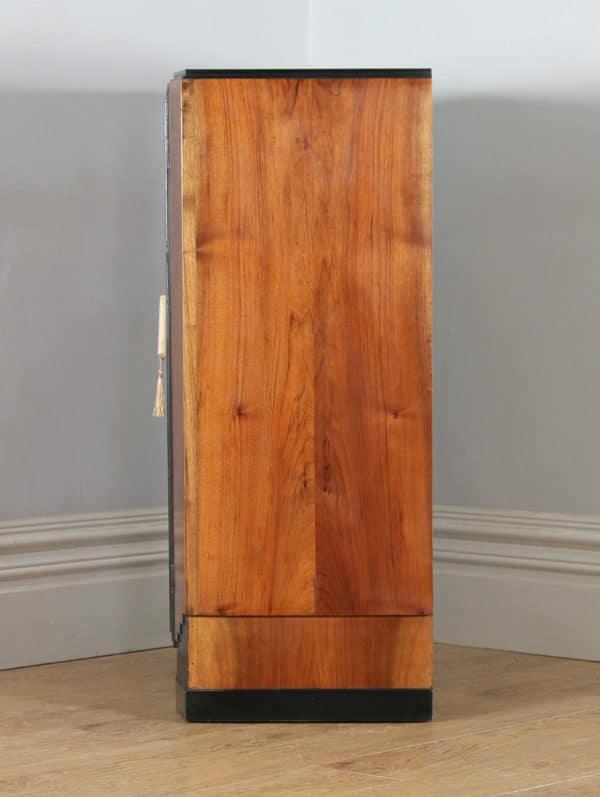Antique English Art Deco Figured Walnut & Ebony Tallboy Compactum Chest of Drawers (Circa 1930) - yolagray.com