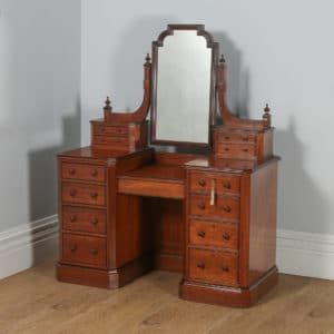 antique english victorian gothic pitch pine ebony pedestal dressing table with mirror circa 1890