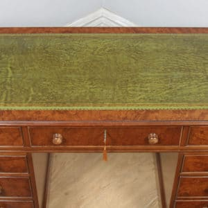 Vintage Georgian Style Burr Walnut & Green Leather 4ft Office Desk By Brights of Nettlebed (Circa 1980) - yolagray.com
