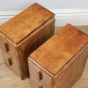 Antique English Pair of Art Deco Burr Walnut Bedside Chests Tables Nightstands by Ray & Miles of Liverpool (Circa 1930) - yolagray.com