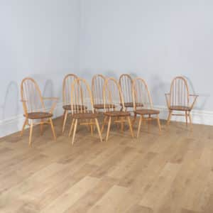 Vintage Set of 8 Elm & Beech Blonde Ercol Quaker Windsor Stick & Hoop Back Kitchen Side & Carver Arm Chairs (Circa 1960) - yolagray.com