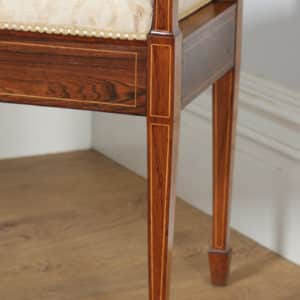 Antique English Edwardian Rosewood & Satinwood Inlaid Marquetry Piano / Music / Duet Stool by James Shoolbred (Circa 1910) - yolagray.com