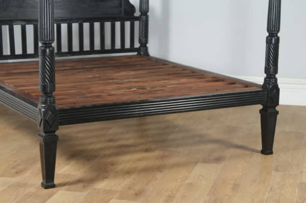 Antique 6ft Colonial Raj Regency Style Victorian Anglo Indian Super King Size Four Poster Bed (Circa 1850) - yolagray.com