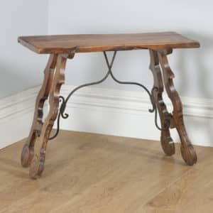 Antique Spanish Basque 19th Century Chestnut Country Side Hall Console Table (Circa 1890) - yolagray.com