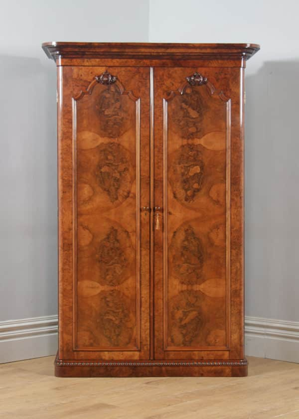 Antique English Victorian Burr Walnut & Satinwood Two Door Wardrobe Cupboard Linen Press (Circa 1880) - yolagray.com