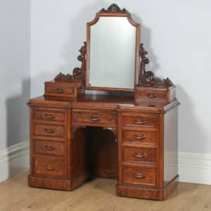 Antique English Victorian Burr Walnut Pedestal Dressing Table with Mirror (Circa 1880) - yolagray.com