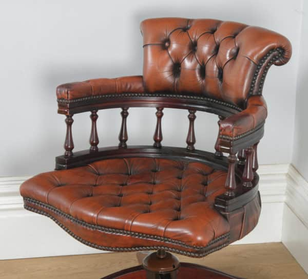 Antique English Victorian Style Mahogany & Brown Leather Captains Office Desk Armchair (Circa 1970) - yolagray.com