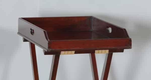 Antique English Georgian Regency Mahogany Small Butlers Drinks Tray Table & Stand (Circa 1830) - yolagray.com