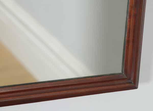 Antique English Victorian Mahogany Rectangular Overmantle Wall Portrait Hanging Mirror (Circa 1870) - yolagray.com