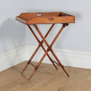 Antique English Victorian Mahogany Small Butlers Drinks Tray Table & Stand (Circa 1850) - yolagray.com