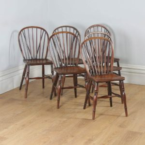 Antique Set of Six English Victorian Ash & Elm Stick & Hoop Back Kitchen Chairs (Circa 1850) - yolagray.com