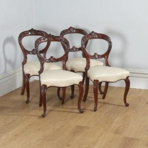 Antique Scottish Victorian Set of Four Mahogany Balloon Back Dining Chairs (Circa 1860) - yolagray.com