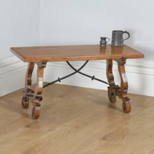 Antique Spanish Basque Oak & Chestnut Rectangular Occasional Side Coffee Table (Circa 1920) - yolagray.com