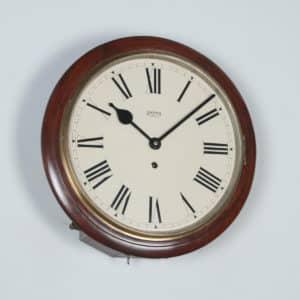 Antique 15″ Mahogany Smiths Enfield Railway Station / School Round Dial Wall Clock (Timepiece) - yolagray.com