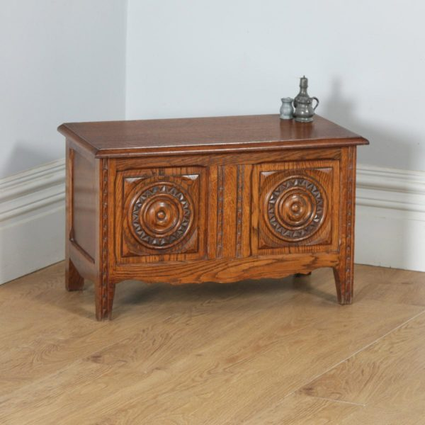 Antique French Oak Carved Breton Trunk Blanket Box Chest / Coffer (Circa 1950) - yolagray.com