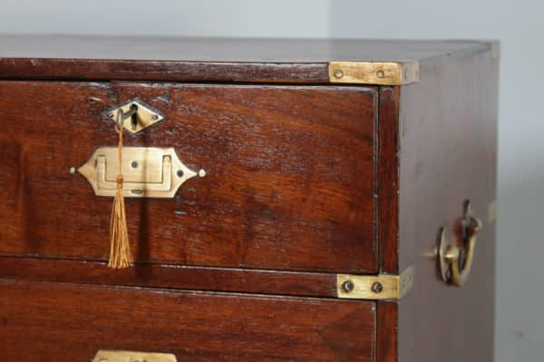 Small Antique Victorian Colonial Anglo Indian Teak & Brass Military Campaign Chest of Drawers (Circa 1840) - yolagray.com