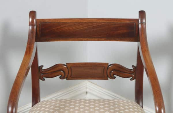 Antique English Pair of Georgian Regency Mahogany Library Office Desk Elbow Carver Armchairs (Circa 1830) - yolagray.com
