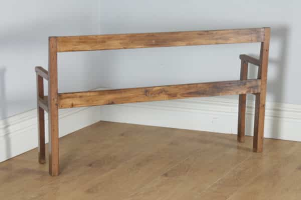 "Antique French 5ft 3"" Breton Chestnut Hall Settle Bench (Circa 1870) - yolagray.com"
