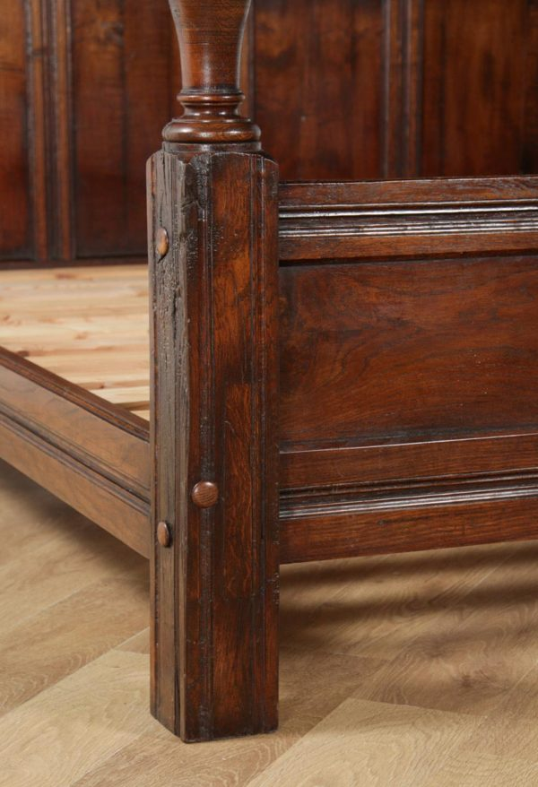 Antique English Charles II Style Super King Size Oak Full Tester Four Poster Bed (Circa 1920) - yolagray.com