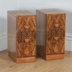 Antique English Pair of Art Deco Burr Walnut Bedside Chests Tables Nightstands (Circa 1930) - yolagray.com