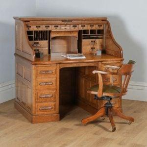 "Antique English Edwardian 4ft 2"" Oak Roll Top Pedestal Office Writing Desk (Circa 1910) - yolagray.com"