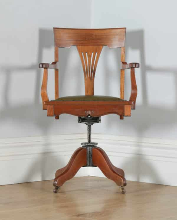 Antique English Edwardian Art Nouveau Cherry Wood & Green Leather Revolving Office Desk Arm Chair (Circa 1910) - yolagray.com