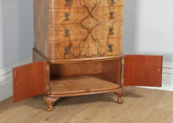 Antique English Queen Anne Style / Art Deco Burr Walnut Bow Front Tallboy Chest of Drawers (Circa 1930) - yolagray.com