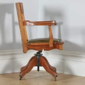 Antique English Edwardian Art Nouveau Cherry Wood & Green Leather Revolving Office Desk Arm Chair (Circa 1910) - yolagray.com