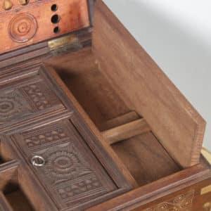 Antique Victorian Burmese Teak & Brass Chiming Colonial Campaign Mandalay Writing Jewellery Sewing Box (Circa 1880) - yolagray.com