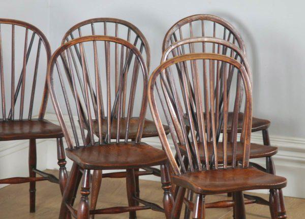 Antique Set of Six English Victorian Ash & Elm Stick & Hoop Back Kitchen Chairs (Circa 1850) - yolagray.com