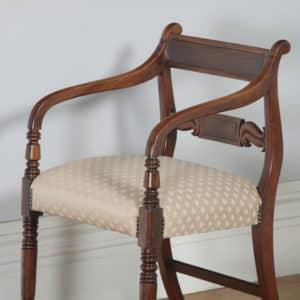 Antique English Pair of Georgian Regency Mahogany Library Office Desk Elbow Carver Armchairs (Circa 1830) - yolagray.com