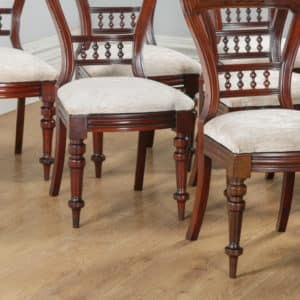 Antique English Victorian Set of 10 Ten Mahogany Upholstered Dining Chairs by J.B. (Circa 1890) - yolagray.com