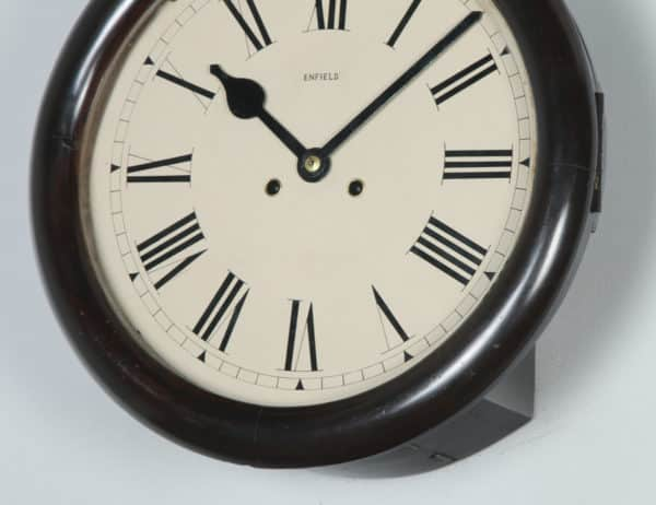 "Antique 15"" Mahogany Enfield Railway Station / School Round Dial Wall Clock (Chiming / Striker) - yolagray.com"
