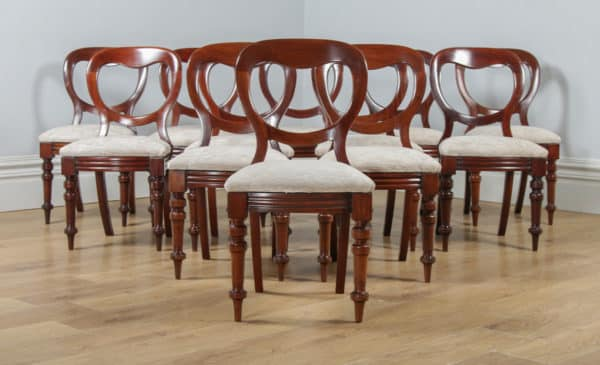 Antique English Victorian Set of 12 Twelve Mahogany Balloon Back Dining Chairs (Circa 1860) - yolagray.com