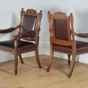 Antique Set of Eight Victorian Oak & Burgundy Leather Boardroom Dining Chairs (Circa 1880) - yolagray.com